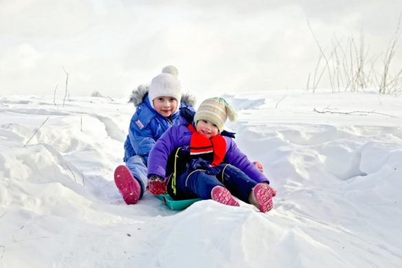 toddler and preschooler sledding
