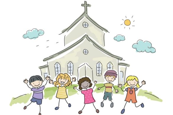 drawing of toddlers at church